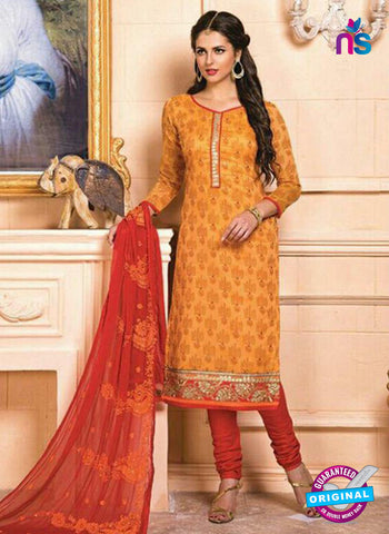 AZ 5259 Yellow Designer Chanderi Straight Suit