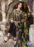 SC 12542 Black and Golden Embroidered Pure Cambric Cotton Suit