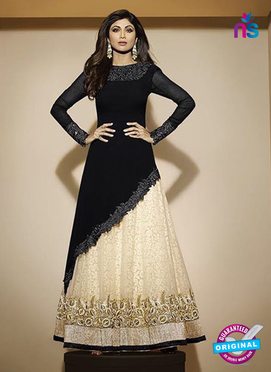 NS10893 A Black and Beige Party Wear Georgette Gawn