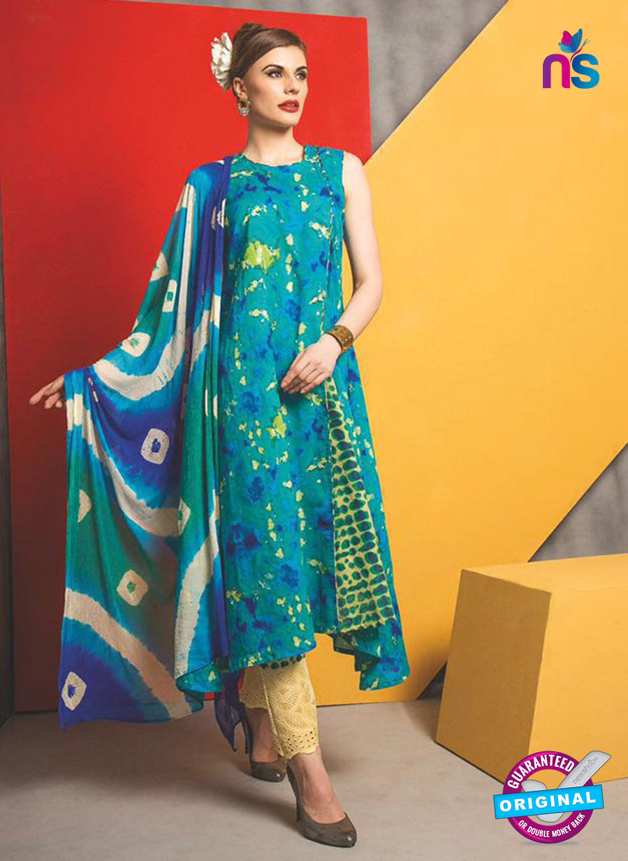 SC 13480 Sea Geen Printed Cambric Designer Un-stitched Plazo Suit
