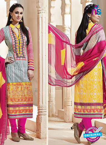 SC 13008 Yellow and Pink Printed Cambric Cotton Straight Suit