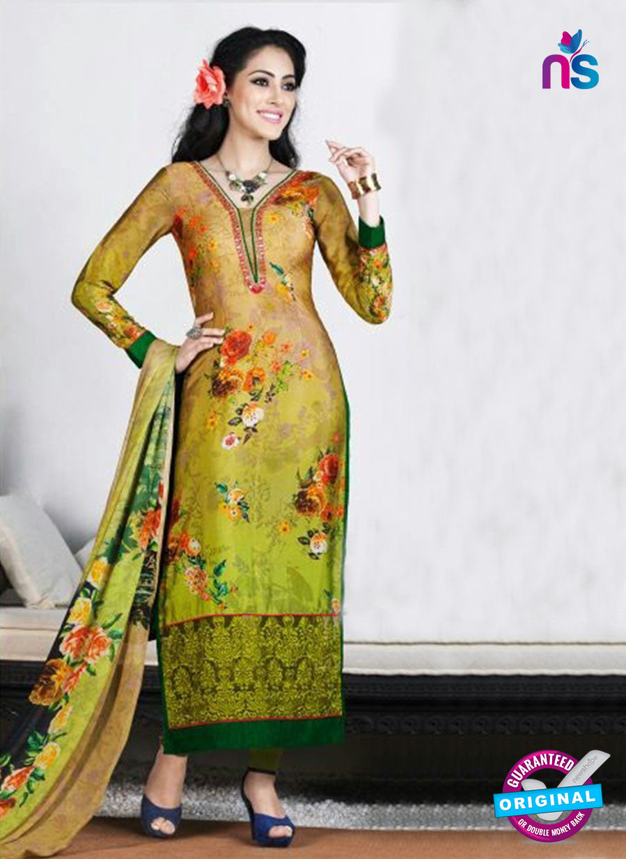AZ 3489 Green and Beige French Crepe Formal Suit - Salwar Suits - NEW SHOP