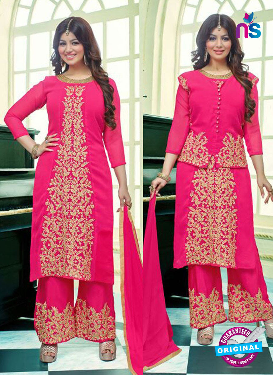 SC 13102 Pink Embroidered Heavy Georgette Party Wear Semi-stitched Designer Suit