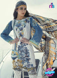 SC 12985 Blue and White Lawn Cotton Pakistani Suit