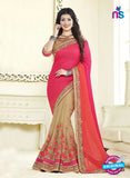 AZ 3459 Brown and Pink Chiffon Wedding Wear Saree