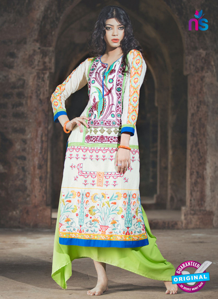 NS10050 Beige and Multicolor Cotton Lawn Kurti