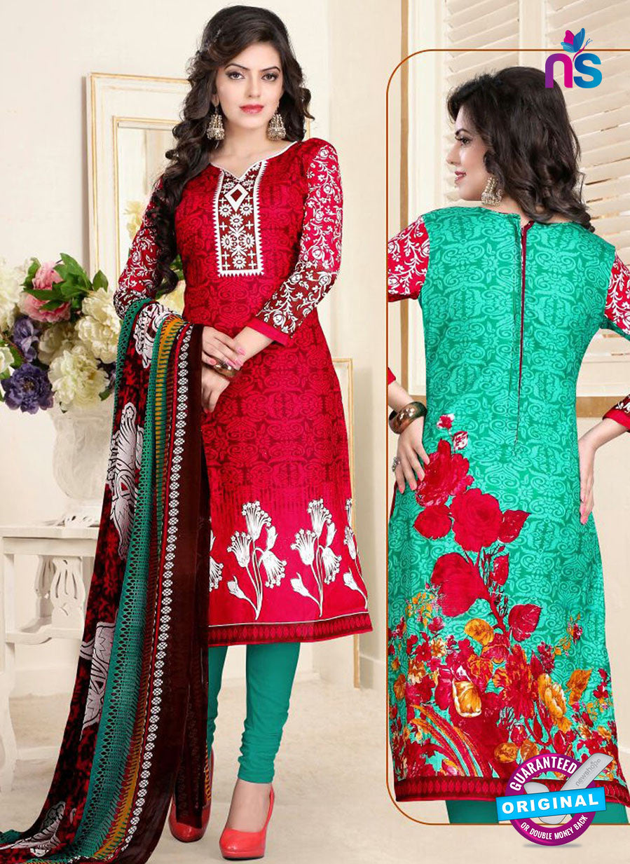 SC 13017 Red and Green Printed Cambric Pakistani Suit