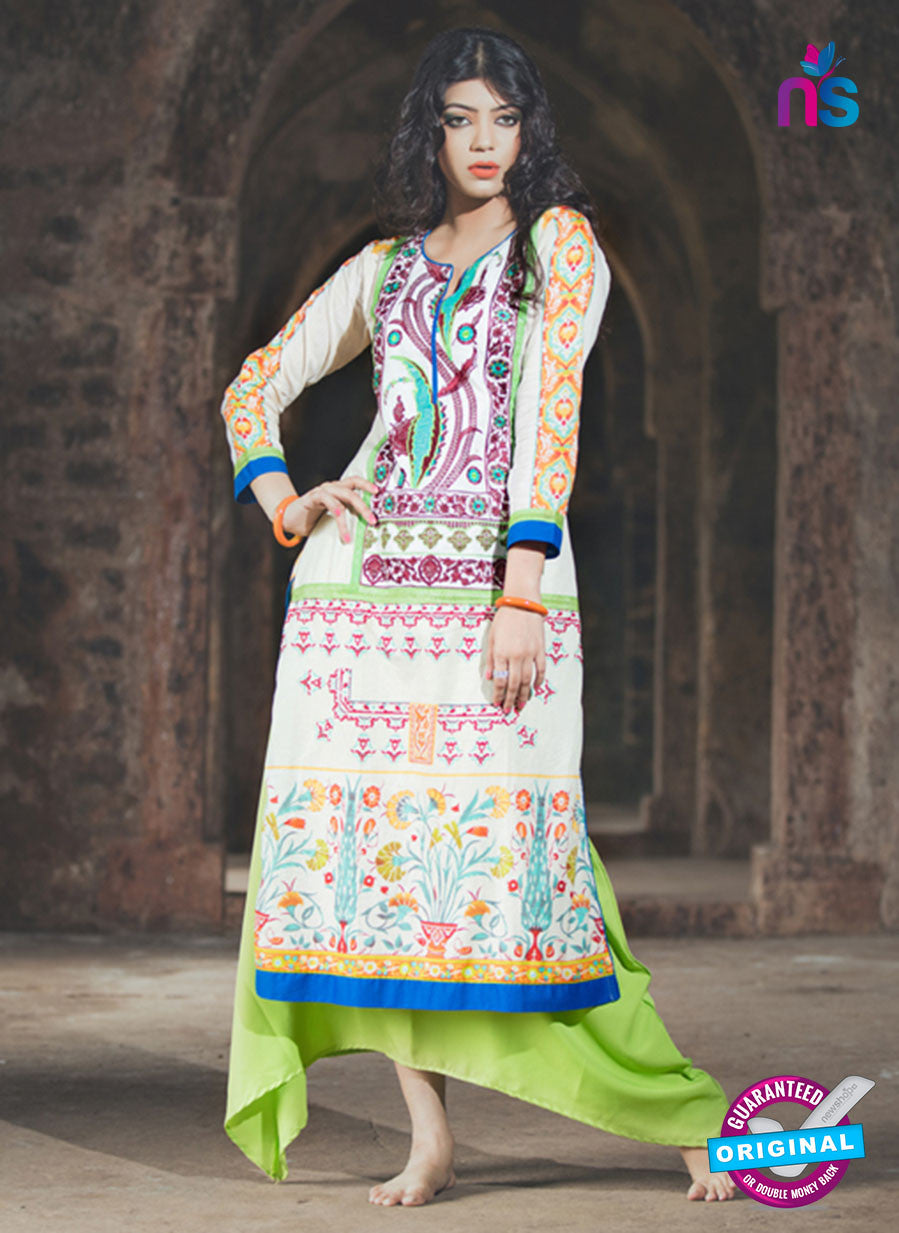 SC 13333 Beige and Multicolor Cotton Lawn Kurti