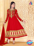 NS10932 Golden and Red Georgette Anarkali Suit