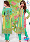 SC 12773 Multicolor and SeaGreen Embroidered Pure Cambric Cotton Suit