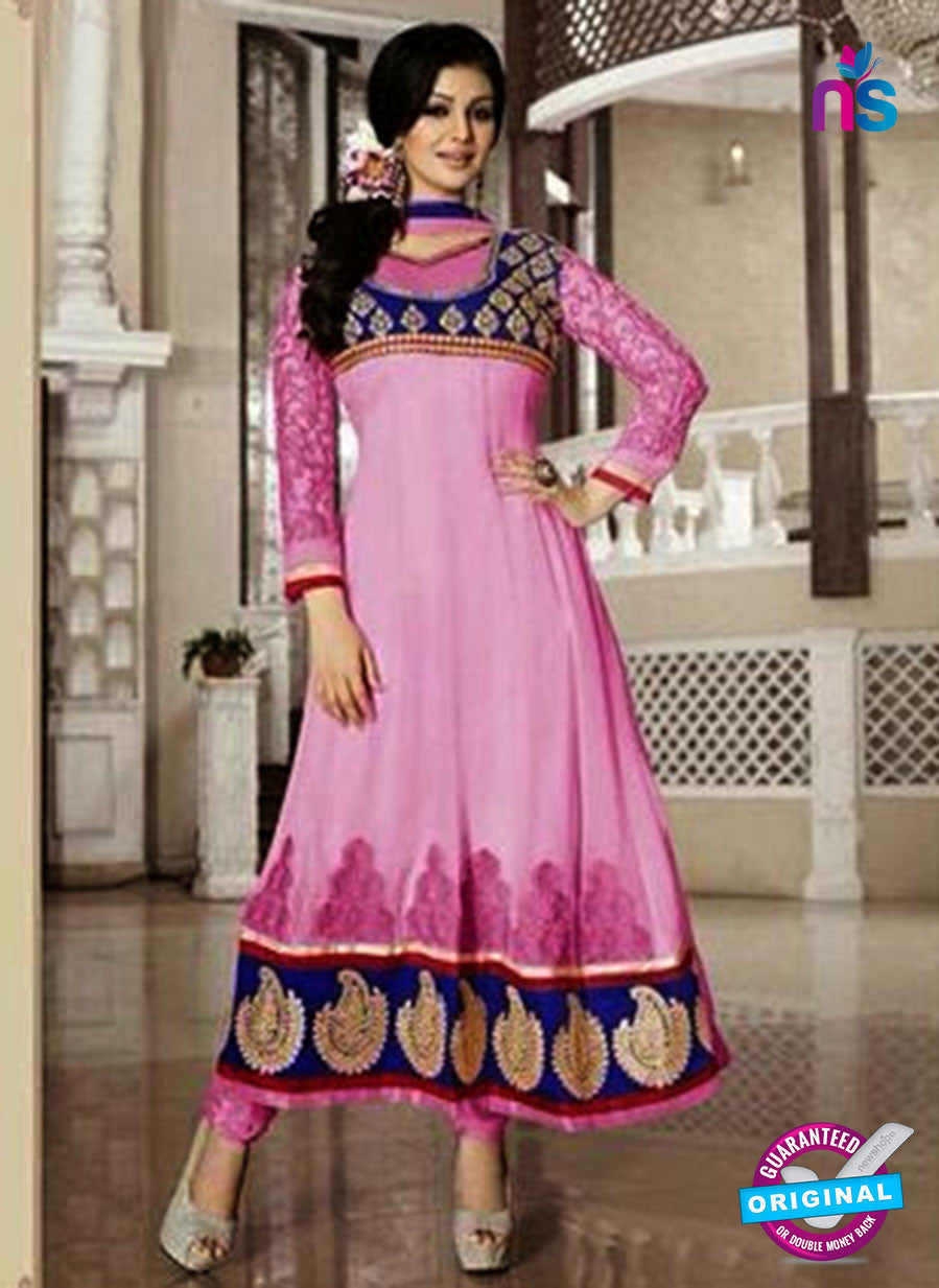 NS10114 Pink and Blue Georgette Anarkali Suit