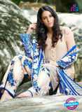 SC 13589 Beige and Blue Embroidered Georgette Designer Fancy Pakistani Salwar Suit
