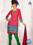 NS10838 Red and Green Georgette Chudidar Suit