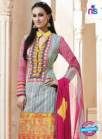SC 13008 Grey, Yellow and Pink Printed Cambric Cotton Straight Suit