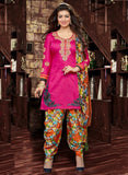 Deepsy 1001  Pink & Multicolor Glace Cotton Designer Suit