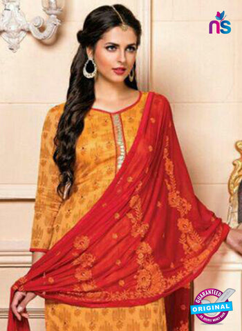 Yellow Designer Chanderi Straight Suit