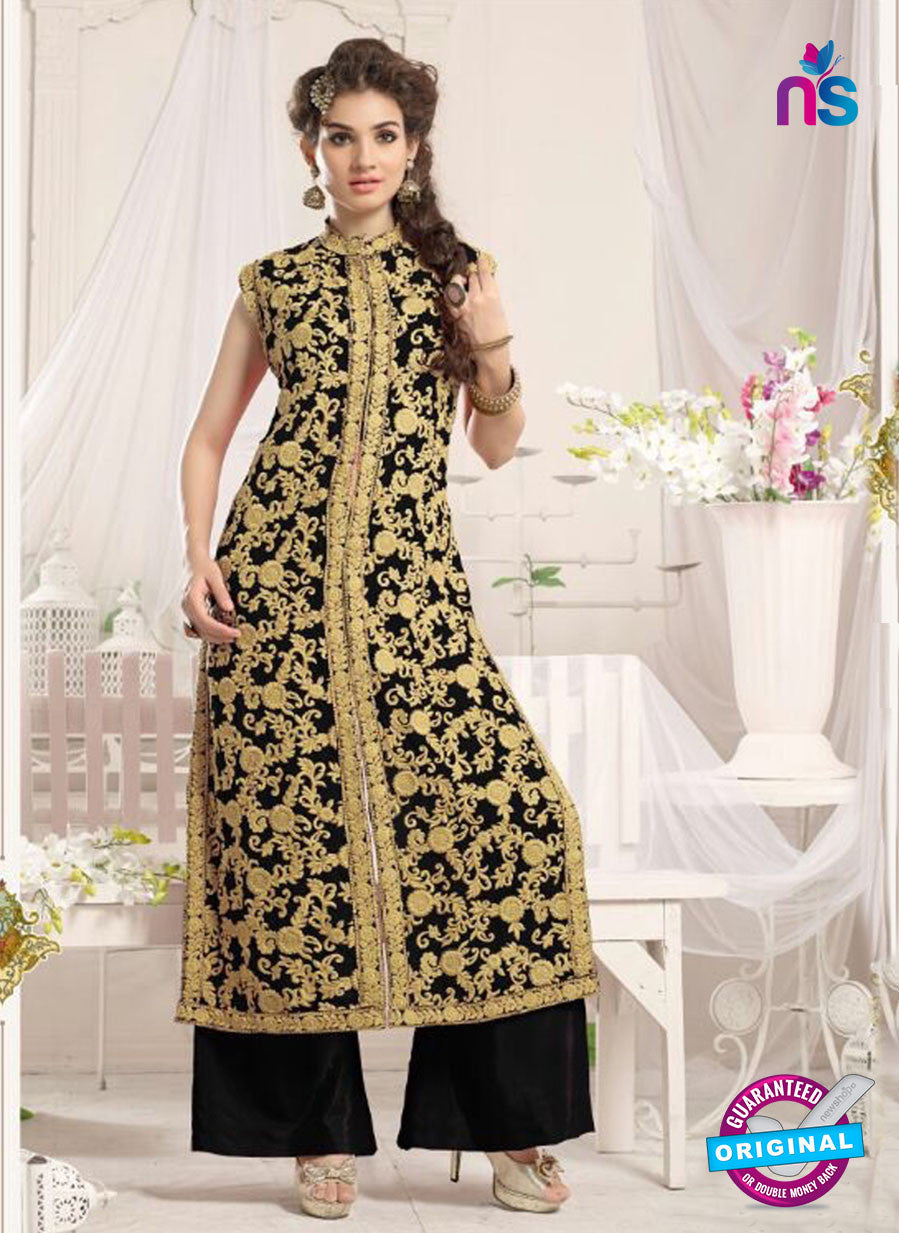NS10773 b Black Party Wear Georgette Designer Straight Suit