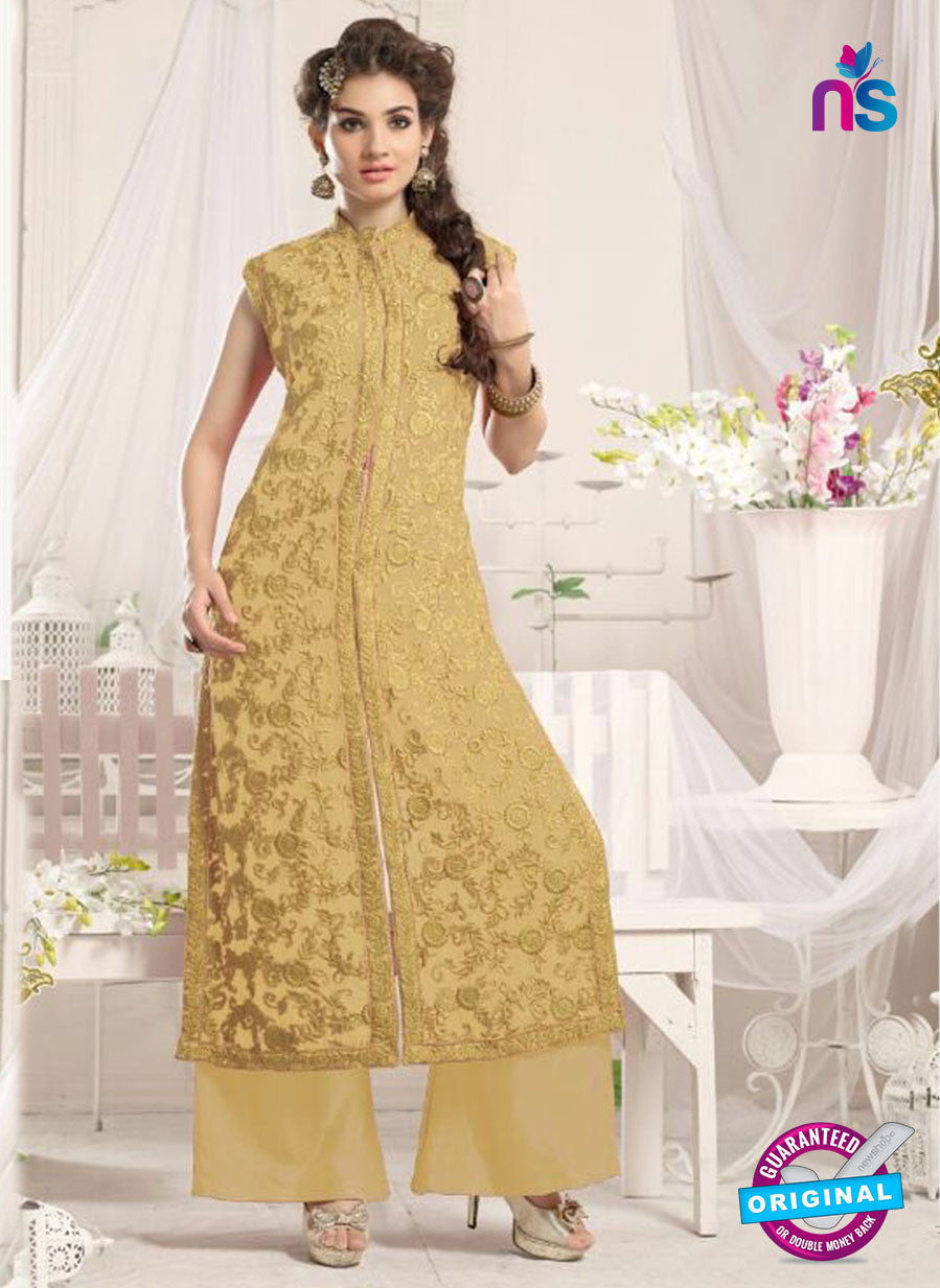 NS10774 c Beige Party Wear Georgette Designer Straight Suit