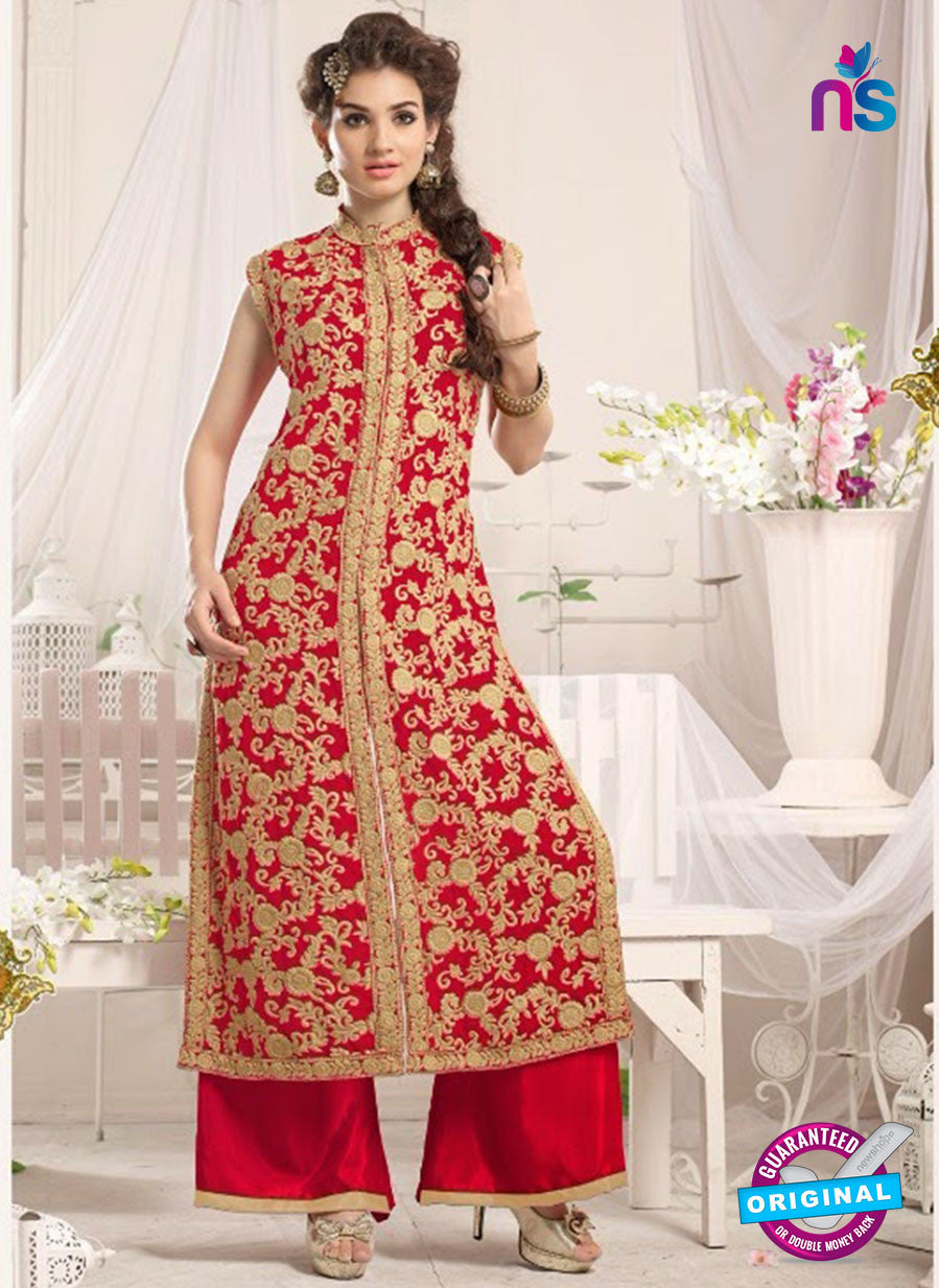 NS10777 f Red Party Wear Georgette Designer Straight Suit