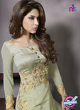 SC 13411 Beige Embroidered Georgette Party Wear  Designer Suit