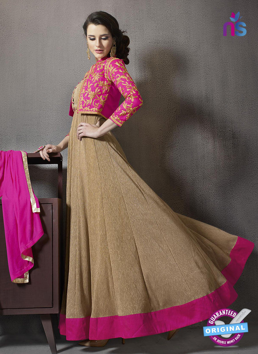 SC 13412 Pink and Brown Embroidered Georgette Party Wear Anarkali Suit
