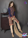 SC 13413 Blue and Beige Embroidered Georgette Party Wear Designer Suit