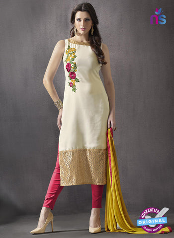 SC 13414 Beige and Red Embroidered Georgette Party Wear Designer Suit