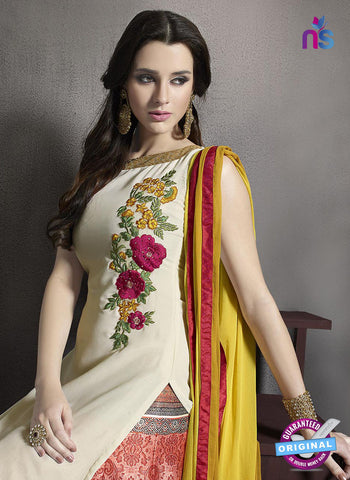 SC 13414 Beige and Red Embroidered Georgette Party Wear Designer Suit Online Shopping