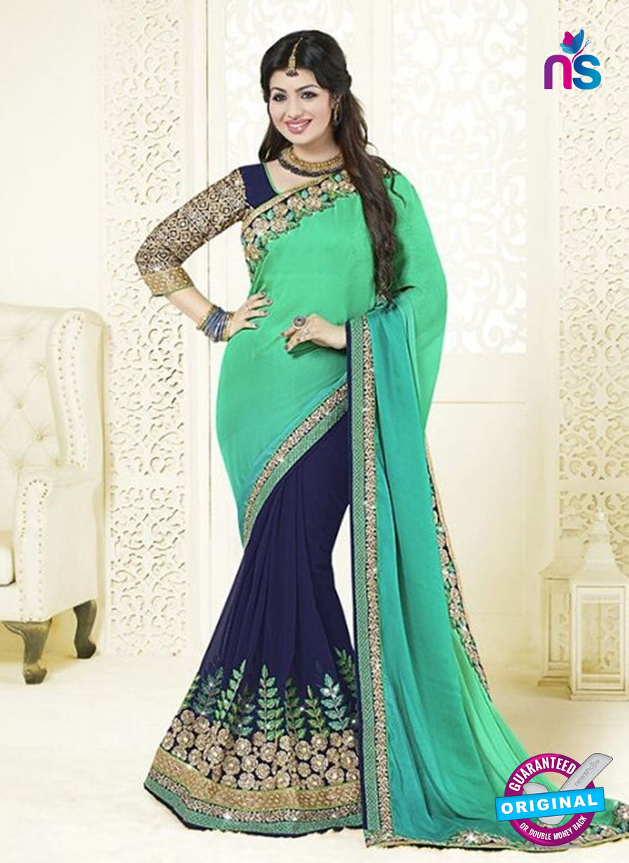 AZ 3460 Blue and Green Satin Chiffon/Georgette Wedding Wear Saree