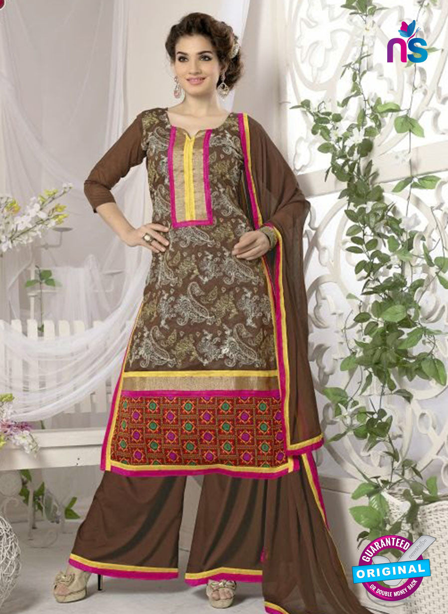 SC 12657 Brown Designer Heavy Chanderi with Embroidered Plazo
