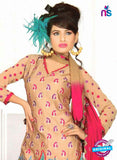 NS10839 Beige and Red Georgette Chudidar Suit