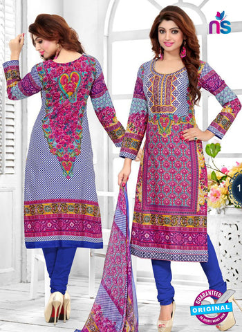 SC 12772 Magenta and Blue Embroidered Pure Cambric Cotton Suit