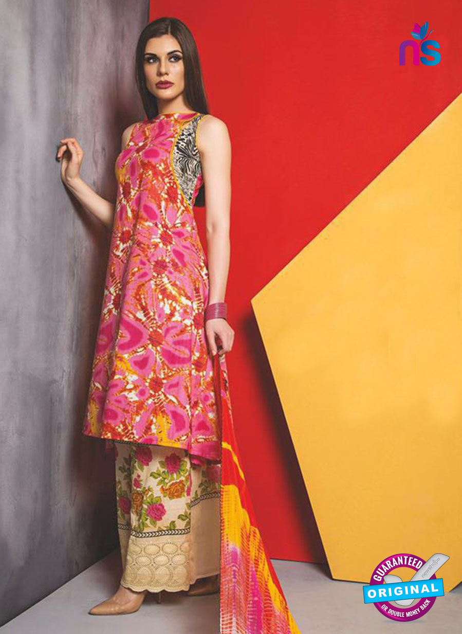 SC 13481 Pink and Multicolor Cambric Designer Un-Stitched Plazo Suit