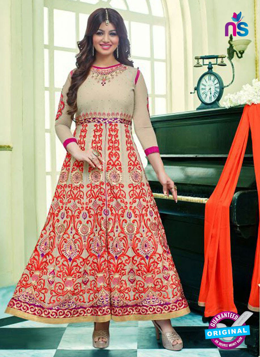 SC 13101 Beige and Orange Embroidered Heavy Georgette Party Wear Semi-stitched Designer Anarkali Suit