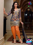 SC 13436 Blue and Orange Embroidered Georgette  Designer Exclusive Traditional Fancy Suit