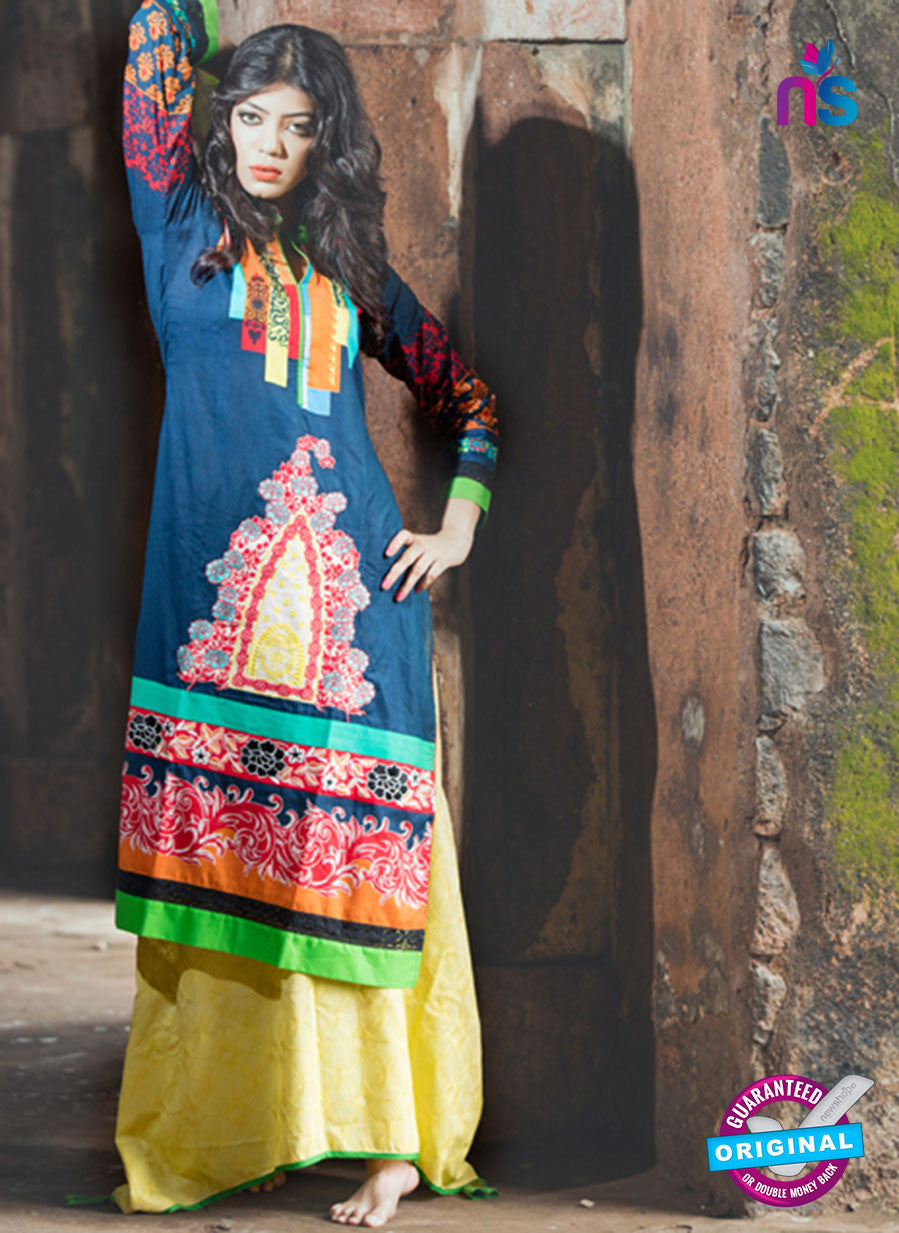 NS10051  Blue and Multicolor Cotton Lawn Kurti