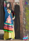 SC 13334 Blue and Multicolor Cotton Lawn Kurti