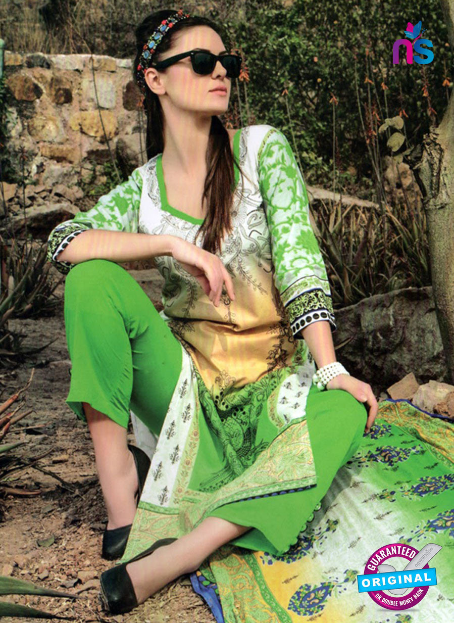 NS 124510 Green and White Printed Cotton Straight Suit