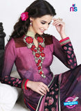 AZ 3490 Purple French Crepe Embroidery Formal Suit