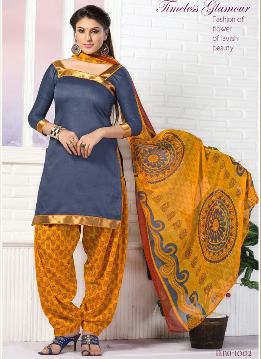 NS11753  Royal Blue and Turmeric Yellow Glace Cotton Patiala Suit