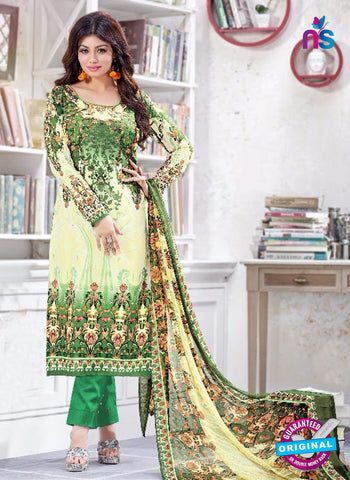SC 13220 Yellow and Green Silk Crape Straight Suit
