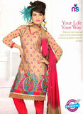 NS10839 Brown and Red Georgette Chudidar Suit