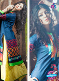 SC 13334 Blue and Multicolor Cotton Lawn Kurti Online