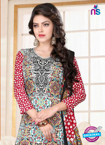 SC 13018 Multicolor and Red Printed Cambic Pakistani Suit Online