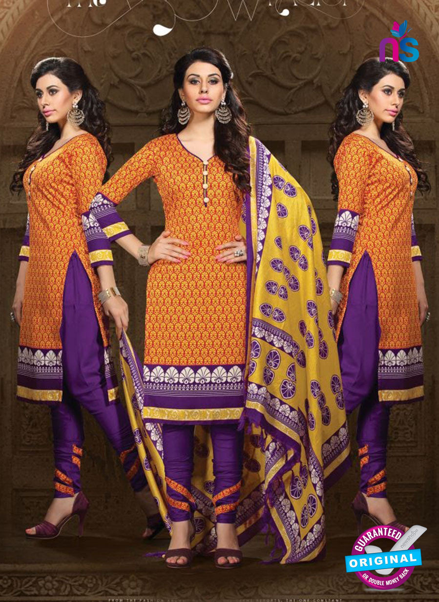 NS11193 Orange and Purple Daily Wear Heavy Banglori Printed Salwar Suit