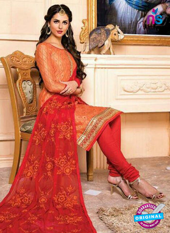 AZ 5261 Orange Designer Chanderi Straight Suit