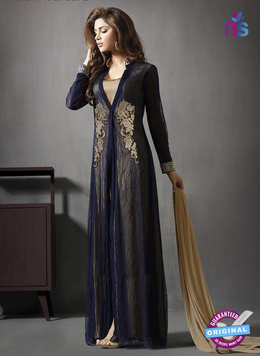 SC 13415 Blue Embroidered Georgette Party Wear Designer Suit
