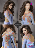 SC 13416 Blue Embroidered Georgette Party Wear Designer Suit