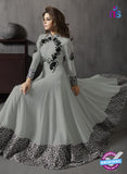 SC 13418 Gray and Black Embroidered Georgette Party Wear Anarkali Suit