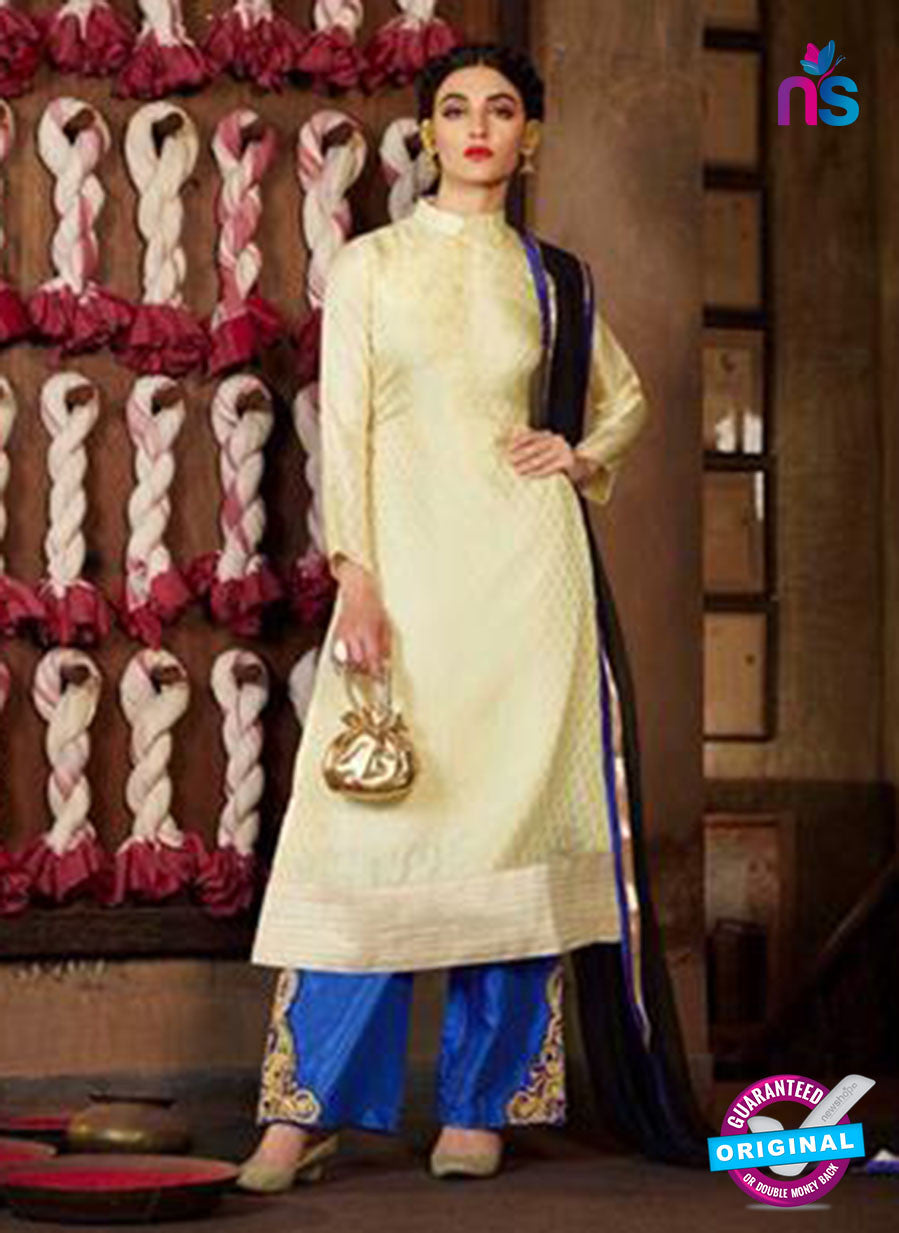 NS12089 Ivory and Royal Blue Designer Suit